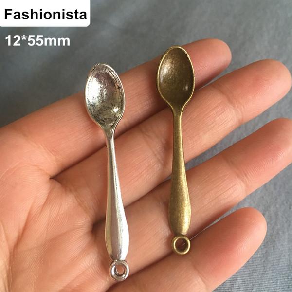 Fashionista-80 adet Vintage Kaşık Charms Kolye 12 * 55mm Antik Bronz / Gümüş Ton, Tiny Kaşık Çinko Alaşım Takı Charms