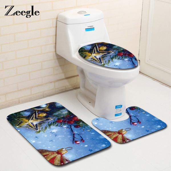 Zeegle 3pcs decoración de Navidad juego de alfombras de baño antideslizante alfombra del piso Alfombra pedestal alfombra cubierta del inodoro cubierta Absorbente alfombras de baño