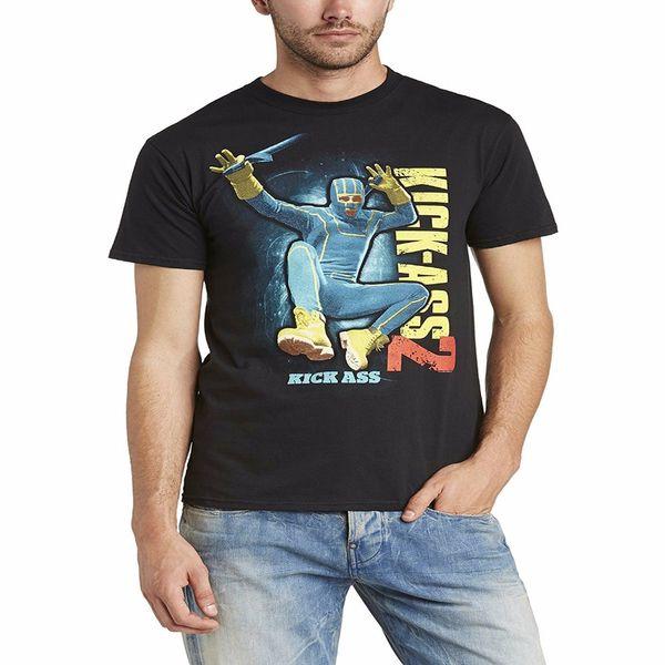 Camisetas personalizadas Kick Ass 2 Jump Kick Oficial Hombre Negro Camiseta extra grande Cuello redondo Camiseta corta regular para hombre