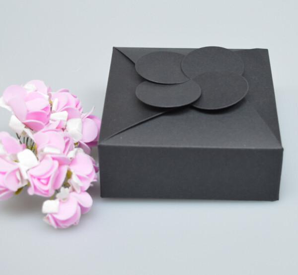 20 stücke 10,5 * 10,5 * 4 cm Schwarz Verpackung Boxen Kraft Pappe DIY Geschenke Verpackung Box Für Hochzeitsfest Gefälligkeiten Paket Seifenkiste