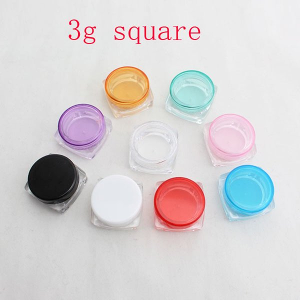 3g X 100 Empty DIY small square sample cream plastic transparent bottle jar pot container colored lid for cosmetic packaging