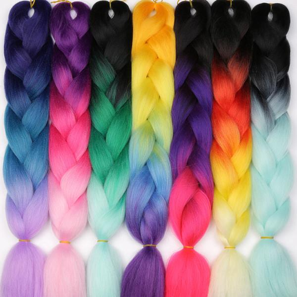 Xpression trenzado de cabello kanekalon trenzas de ganchillo sintéticas twist 24inch 100g Ombre trenzas jumbo de dos tonos extensiones de cabello sintético
