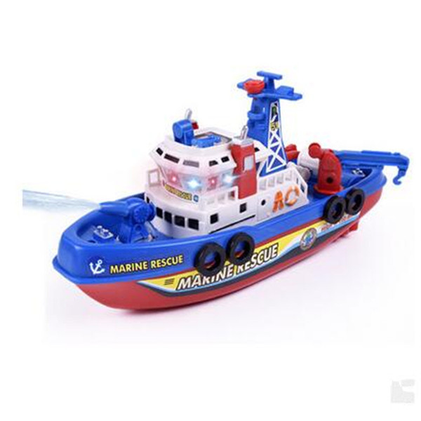 Free shipping---Children's electric fire boat music light water jet model toy