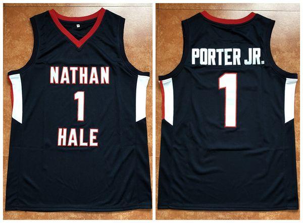 # 1 Michael Porter Jr Nathan Hale Highschool Blau Retro Basketball Jersey Mens Stickerei genäht Custom jede Nummer und Name Trikots