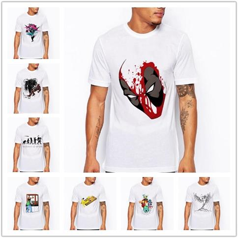 2pcs/Creative fashion simple short-sleeved shirt wild popular cartoon graffiti clothes men's shirt short-sleeved summer popular printing rou