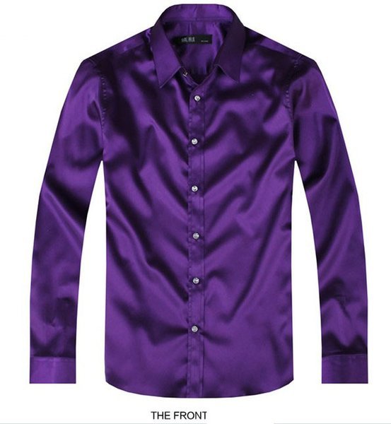 2017 Purple Luxury the groom shirt male long-sleeve wedding shirt men's party Artificial silk dress M-3XL 21 colors FZS11