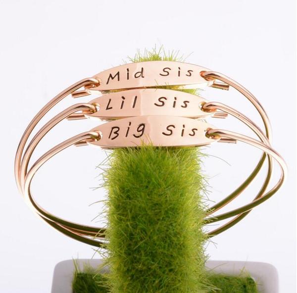 6 Estilos Big Mis Lil Hermana Pulseras chapado en oro de plata ID Tag Charm Bracelets Bangle Cuff para Mujeres Niños Best Friends Jewelry