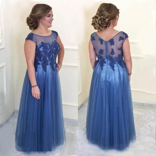2018 Blue Plus Size Mother Off The Bride Dresses Crew Neck Lace Appliques Beaded Sheer Open Back Long Evening Wear Prom Party Gowns