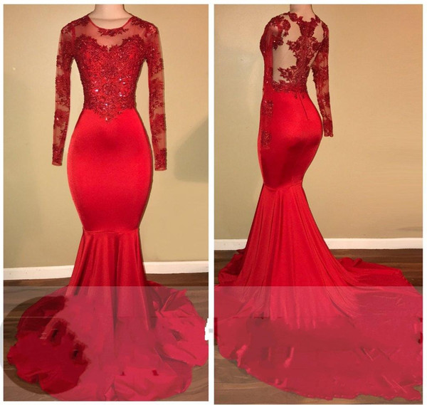 2018 Jewel Neck Long Sleeves Red Prom Dresses Mermaid Lace Appliques Zipper Back Beaded Illusion African Long Evening Gowns Red Carpet Dress