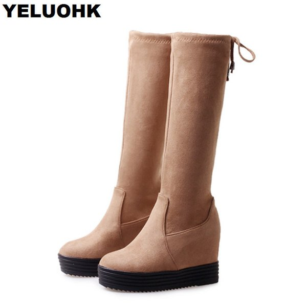 f4df760e1 Fashion Platform Women Over The Knee Boots Casual Winter Shoes Women Wedge  Boots Comfortable Black Shoes