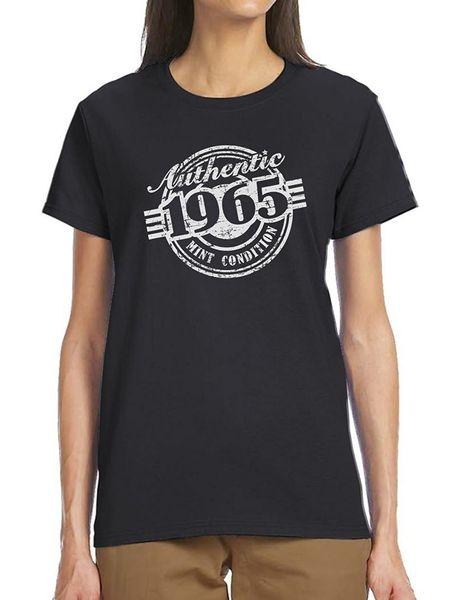 Machen Sie ein T-Shirt kurze Frauen 52. Geburtstag Geschenk Authentic 1965 Mint Zustand lustige Rundhalsausschnitt Kurzhülse T-Shirts