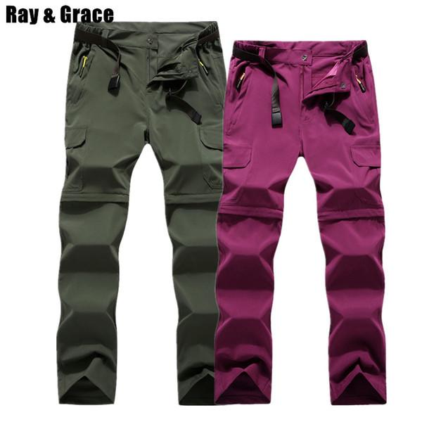 RAY GRACE Abnehmbare Hosen Shorts Frauen Männer Sommer Outdoor Wandern Hosen Wasserdicht Quick Dry Cargo Pants Klettern Trekking C18111401