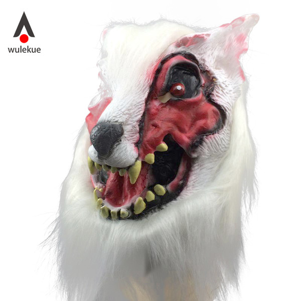 WULEKUE Halloween Horror Mask Full Face of Wolf Head Wigs Masquerade Props Horror Devil Scary Costume Party Accessories