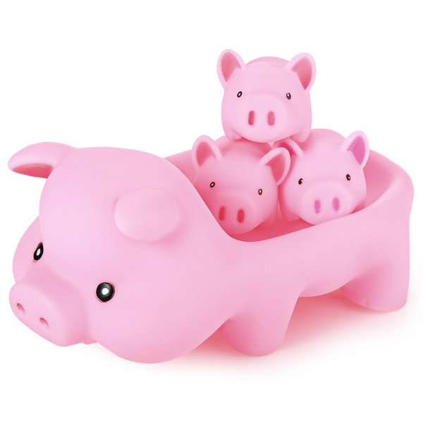 4 Pieces/Set Baby Bath Toys Cute Soft Rubber Float Squeeze Sound Dabbling Toys Play Animals Pig Toy for Children Gifts
