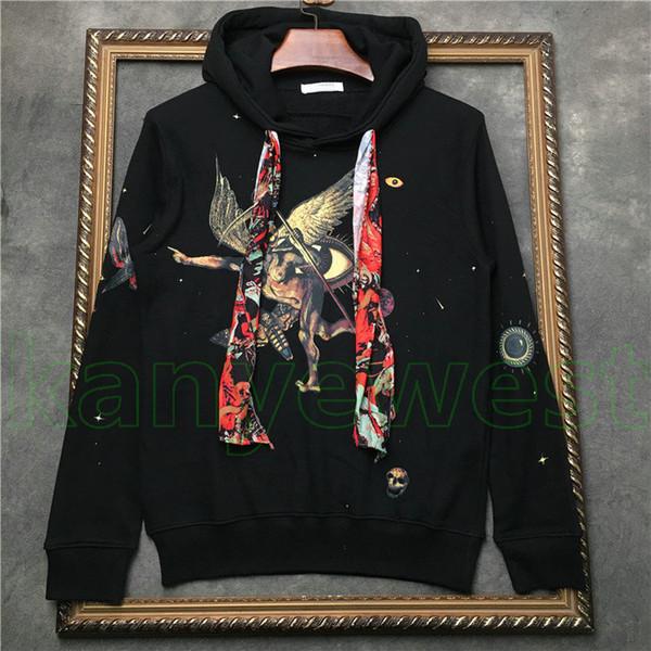 Роскошный дизайнер толстовки кофты дизайнер пуловер кофты мужские Дьявола череп печати толстовка с капюшоном топы одежда хип-хоп улица толстовки