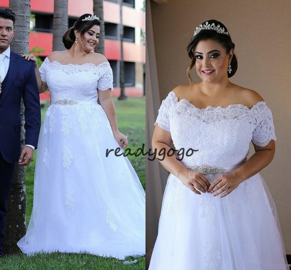 Plus Size Wedding Dresses with Beaded Belt 2019 Off Shoulder Full Lace Applique Outdoor Country Garden Cheap Bridal Wedding Gown