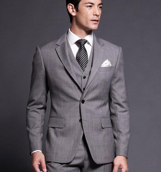 Custom Made Slim Fit Groom Tuxedos Gray Side Slit Best Man Notch Lapel Groomsman Men Suits ( jacket+Pants+vest+tie)