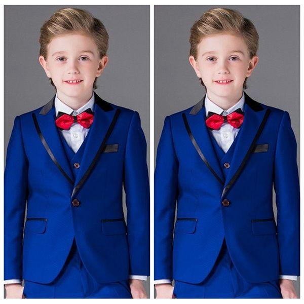 Königsblau Jungen Anzüge für Hochzeitsfeier Formelle Kostüm für Kinder Kinder Peak Revers Smoking (Jacke + Hose + Weste) 3 Stück
