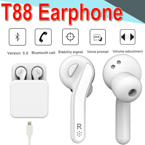 T88 Auriculares Bluetooth Inalámbricos Biauriculares Verdaderos TWS Gemelos Auriculares Estéreo Auriculares Deportivos Auriculares Bajos para iPhone Xiaomi Calling ET88 50 Pack