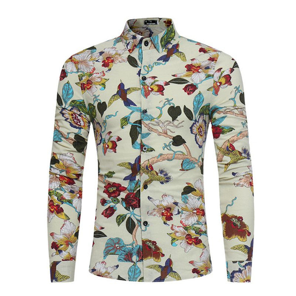 Flower Birds Printed Tops Spring Wear Men Shirt Dinner Party Clothing Male Casual Blouse Long Sleeve Fashion Boy Shirts Vintage