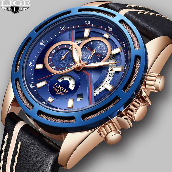 2018 LIGE Mens Watches Brand New Fashion Sport Casual Luxury Model Classic Business Men Military Leather Sports Quartz Wristwatch