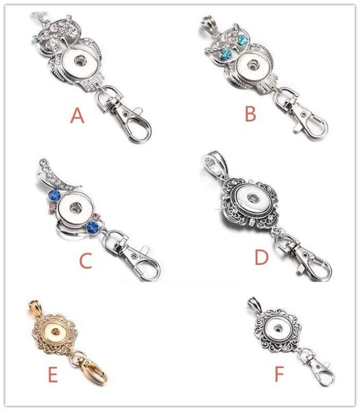 Noosa Snap Button Jewelry Beautiful Gold Snap Key Chains Crystal 18MM Snap Button Keychains Key Rings Lanyard Keyring for Women