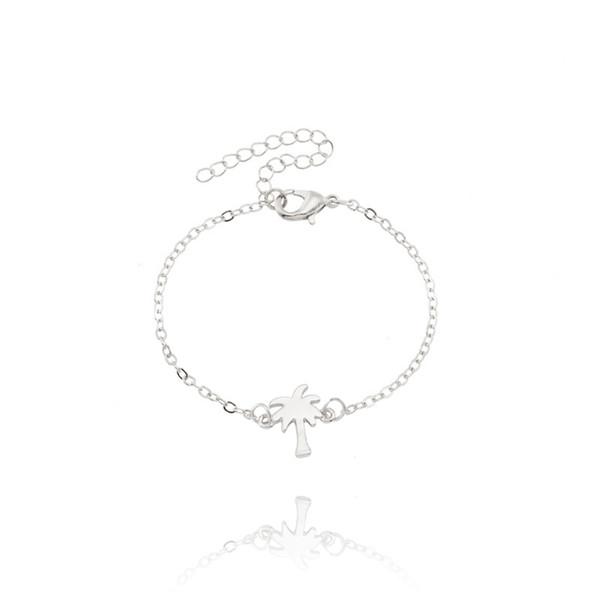 Boho Coconut Tree Bracelets For Women Summer Beach Plant Bracelet Simple Tiny Rose Gold Silver Charm Jewelry For Best Friends