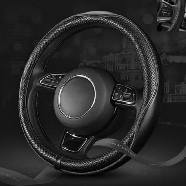 Car Auto Inner Interior Black Universal Genuine Leather Embossing Steering Wheel Cover Fit For VW Jetta Passat Audi Honda Civic Toyota BMW