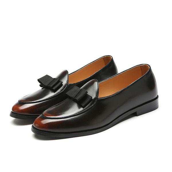 Tasarımcı Erkekler Loafer'lar El Yapımı Elbise Ayakkabı Üzerinde Kayma Lüks Zarif Papyon Düğün Örgün İş Ayakkabı Artı Boyutu Q-242