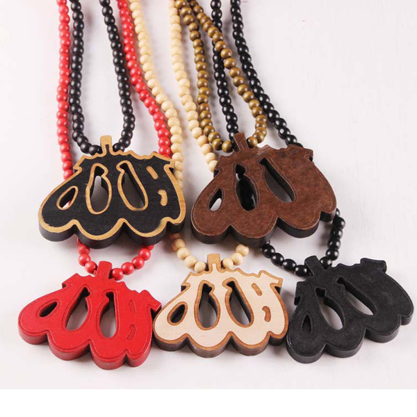 5 Colors Wood Pendant Hip Hop Jewelry Designer Jewelry Sliver Choker Beads Mens Necklace Mens Chain Healing Necklace