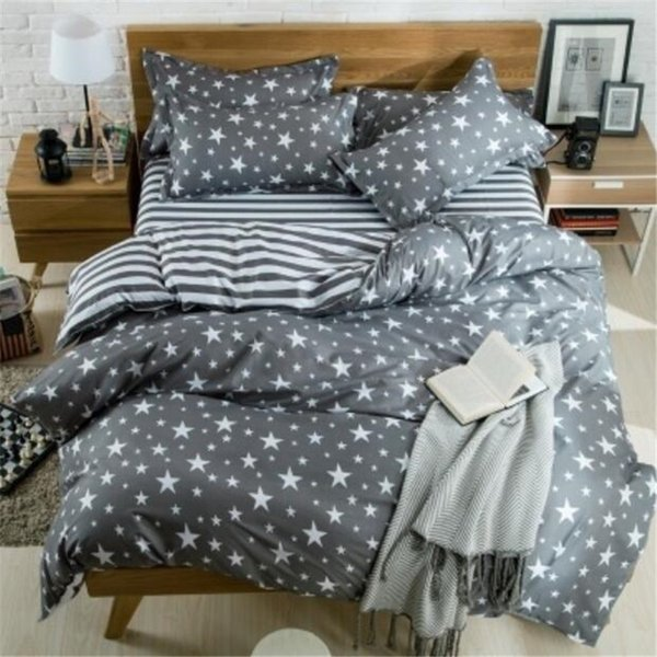 Copripiumino Stelle.Gray And White Stars Bed Pillowcases Duvet Cover Set Quilt Cover