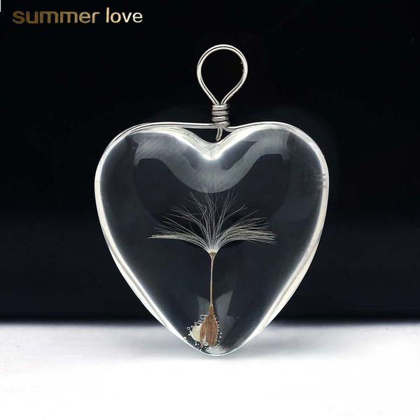 Vente chaude Pissenlit Verre Coeur Forme Pendentif Pour Colliers Cristal De Verre Rond Pendentifs DIY Bijoux Accessoires Cadeau