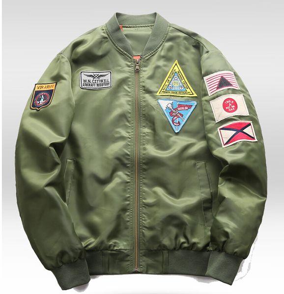 men ma1 jacket epaulet design pilot airplane bomber jackets casual spring autumn coats long sleeved