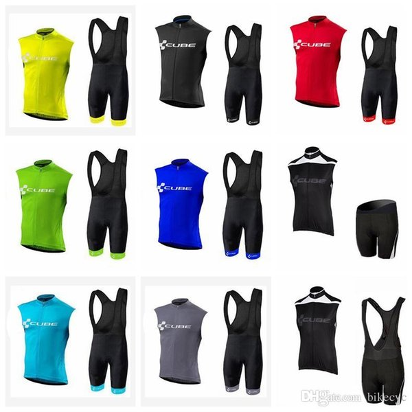 CUBE team Cycling Sleeveless jersey Vest (bib) shorts sets New arrivals Knight Jersey Bike Wear Stylish Cycling Gear E2901b