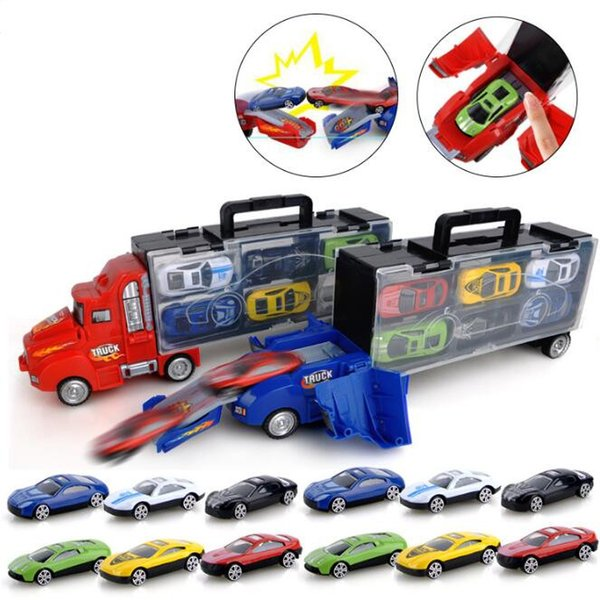 Transport Carrier Truck Set with 12 Colorful Mini Mental Die Cast Cars Innovative Racing Game Map Car Transporter Toy CCA10412 10pcs