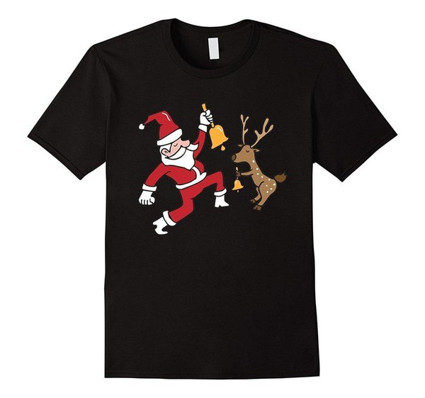 Ugly Christmas Sweater Cute Santa Dabbing Reindeer Ring Bell Cool Funny T-Shirt Men High Quality Tees Movie T Shirt Couple