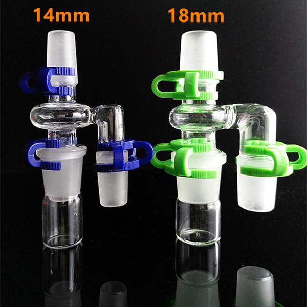 Nouveau design thich tête de verre adpter 90 degrés angle 14.4mm 18.8mm joint 14mm 18mm mâle à mâle adaptateur de verre