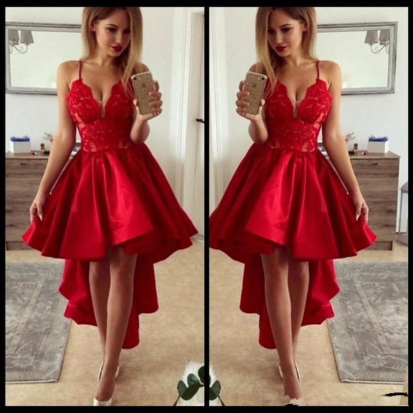 Cheap Chic Red High-Low Prom Dresses 2018 Sexy V-Neck Lace Satin spaghetti straps Homecoming Dress Fashion Short Party Dress Evening Gown