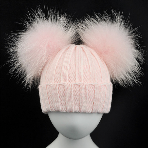 Winter Baby Knit Hat With Two Fur Pompoms Boy Girls Natural Fur Ball Beanie Kids Caps Double Real Fur Pom Pom Hat for Children C18111601