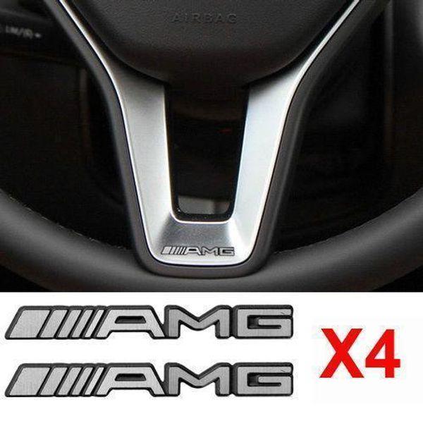 4Pcs Alloy ALUMINIUM AMG Steering Wheel Sticker Badge Logo Emblem S66 Free shipping