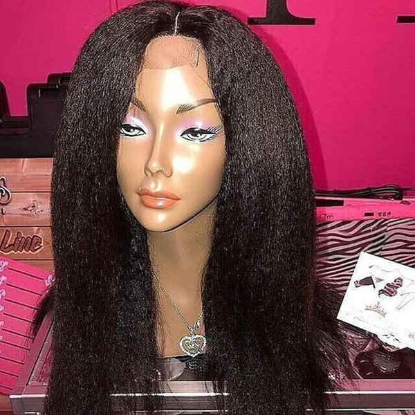 Hot Sale Unprocessed Peruvian Human Hair Light Yaki Straight Bleached Knots 5*4.5'' Silk Top Full Lace Wigs With Baby Hair