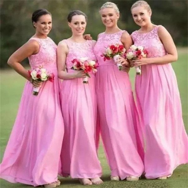2018 Pink Long Bridesmaid Dresses Jewel Neck Lace Sleeveless Floor Length Chiffon Formal Evening Prom Dress For Wedding Events Custom Made