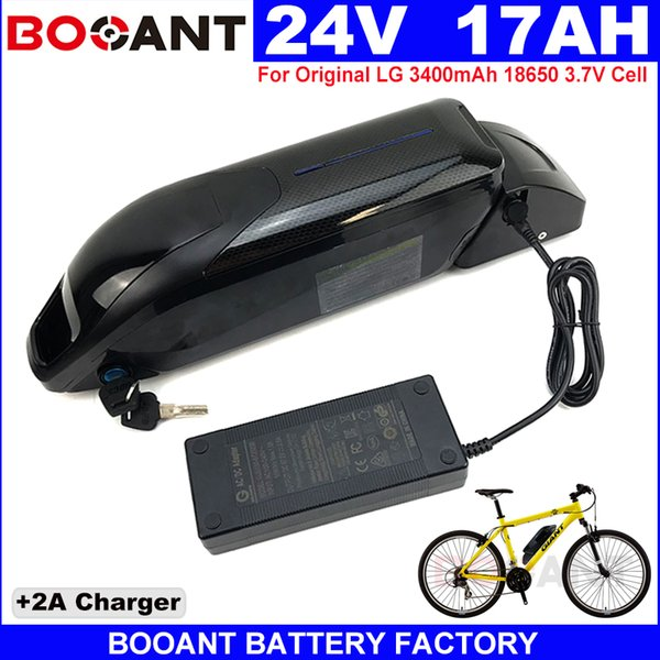 Rechargeable Lithium battery 24V 17AH for Original LG 18650 Electric bike battery for Bafang BBS 350W 500W Motor with USB Switch