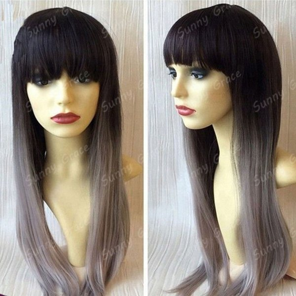 Brazilian virgin human hair ombre 1b/ silver gray full lace wigs with bangs front lace wigs