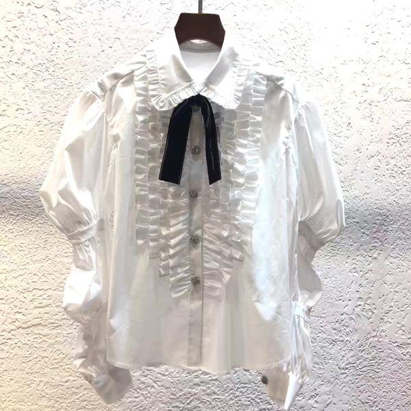Dressnow elegant white blouses women 2018 summer white cotton blouse with bow