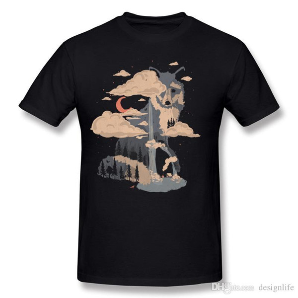 Best Choice Adult 100% Cotton At the Foot of Fox Mountain Tee-Shirt Adult Round Collar Black Short Sleeve T-Shirts Plus Size Crazy Tee-Shirt