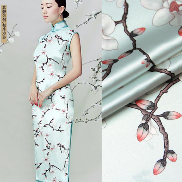 6d6fcaa0ea587d9 135 см в ширину 19 мм 93% шелк 7% спандекс Цветение сливы цветочный принт  светло-синий стрейч шелк атласная ткань для летнее платье одежда Cheongsam  D962