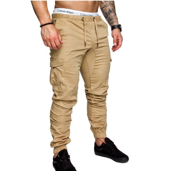 Brand Men Pants Hip Hop Harem Joggers Pants 2018 Male Trousers Mens Joggers Solid Multi-pocket Pants Sweatpants M-XXXL C18110901