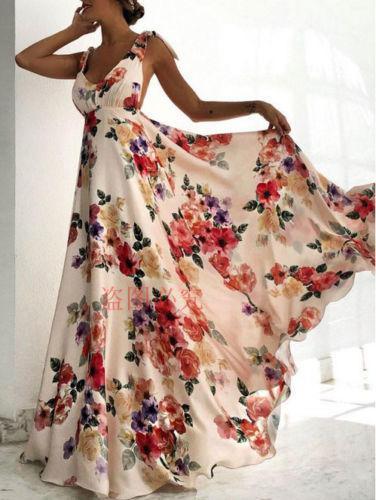 Women Summer Sleeveless Vintage Long Boho Maxi Dress Ladies Floral Backless V-neck Party Beach Dresses