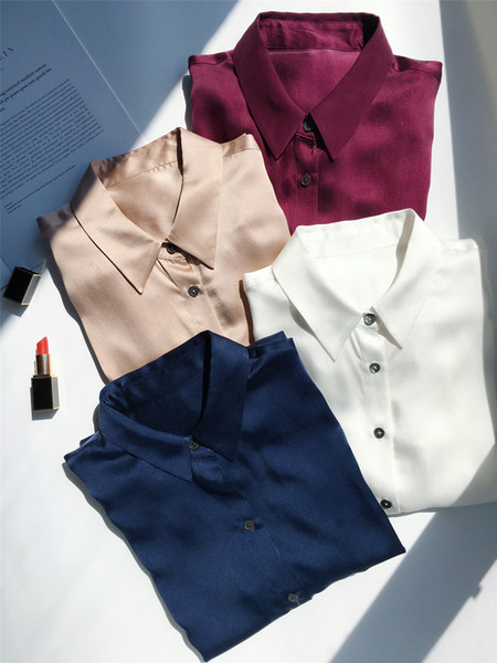 2018 Spring Fall Blouse Women's High Quality Elegant Long Sleeve Lapel Neck Solid Color Silk Top Shirts